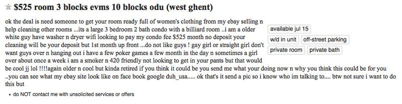 Crap Craigslist Ad From A Dude: Live-In Med Student Sex Maid Wanted