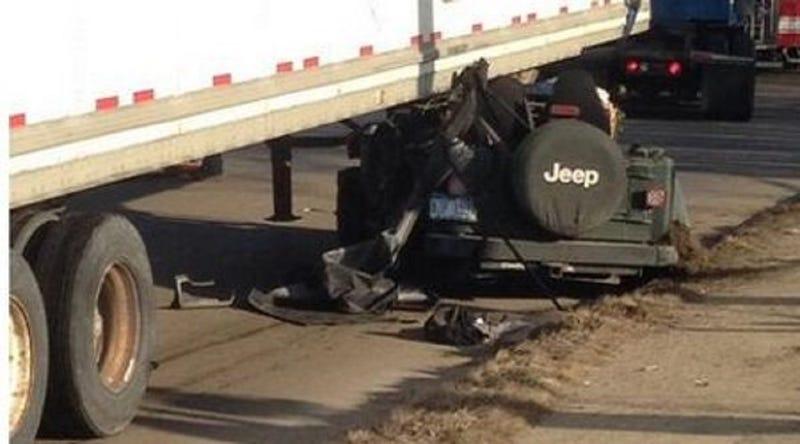 Woman Survives Insane Crash After Jeep Wedges Under 40,000-lb. Semi