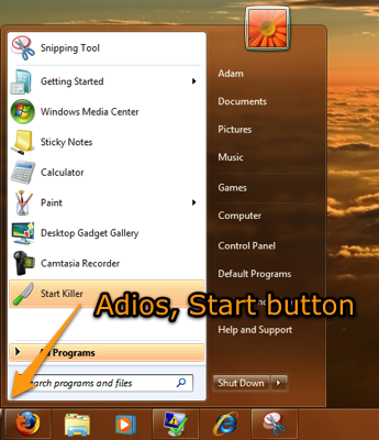 Start Killer Hides the Start Button in XP, Vista, and Windows 7