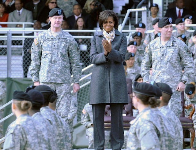 Michelle Obama Applauds Service With A Smile