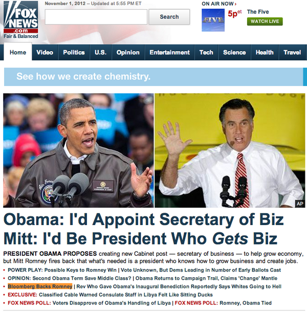 Fox News: 'Bloomberg Backs Romney,' Even Though He Didn't
