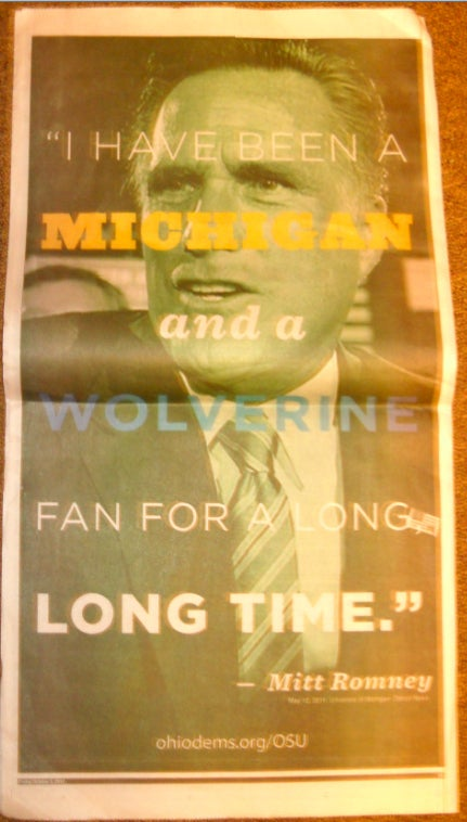 "Anti-Romney Ad In Ohio State Student Newspaper: He's Been A Michigan Fan A ""Long, Long Time"""