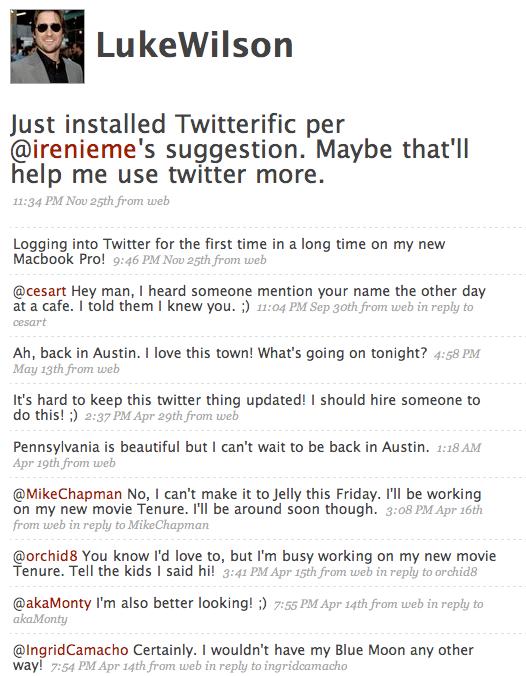 Luke Wilson just another bored Twitter user?