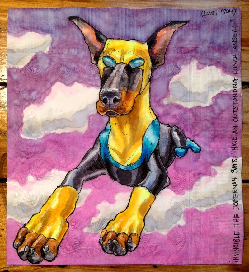 Artist draws superpowered canines on her sons' lunch napkins