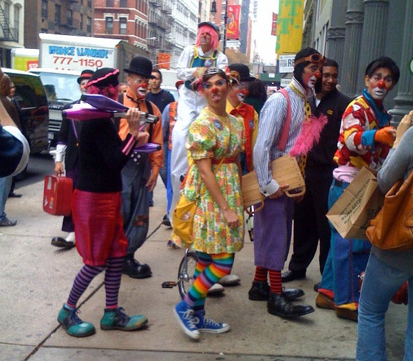 Terrifying Clown Army Invades New York Best Buy