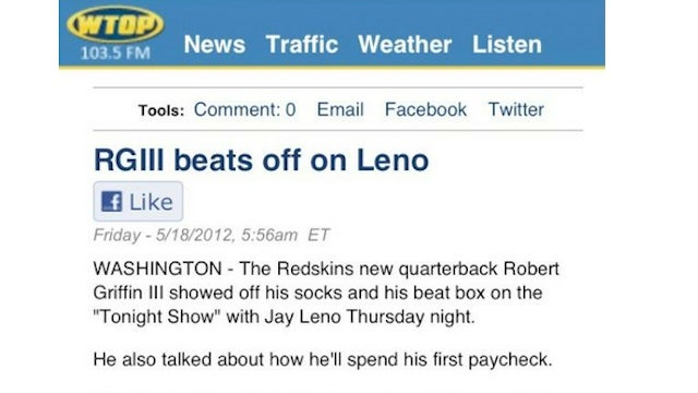 Headline On Radio Station Website Unintentionally Links Robert Griffin III, Masturbation, Jay Leno