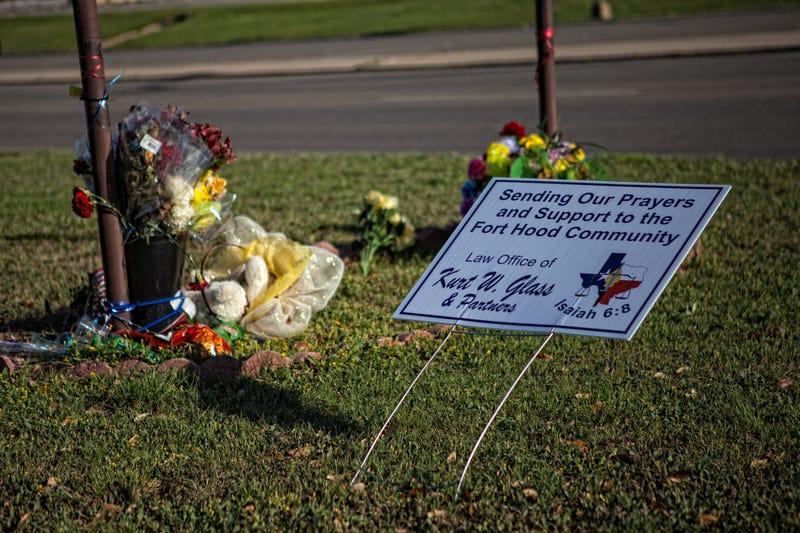 Fort Hood shooting victim memorial on an M3
