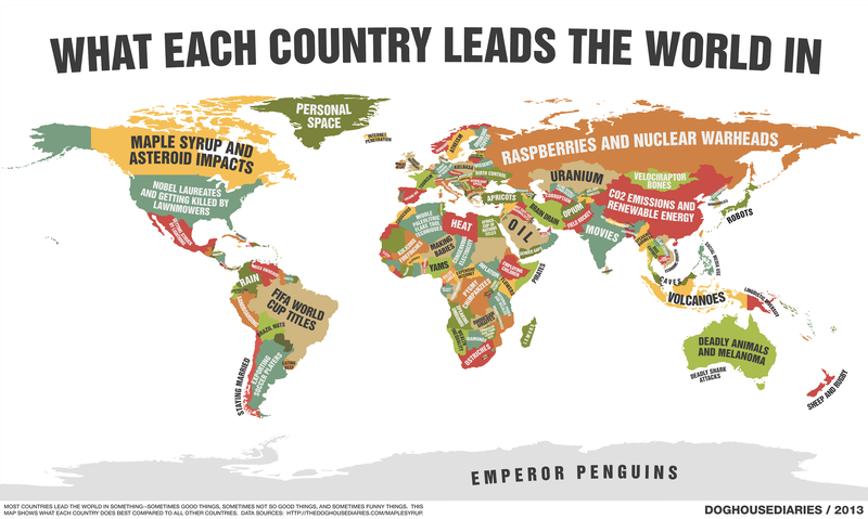 This cheeky map shows what each country leads the world in