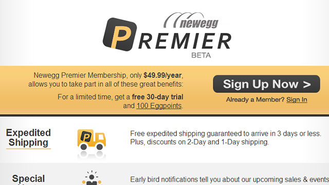 Newegg Premier Offers Free Shipping and Returns for $50 a Year