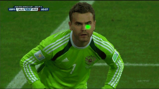Russian Keeper Gets Laser Shined In His Face; Algeria Score