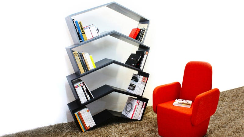 This Stackable Angled Shelf Just Made Bookends Obsolete