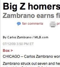 Zambrano Pitches, Hits, Uses Inverted Pyramid