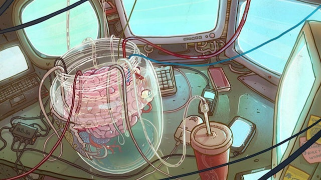 Concept Art Writing Prompt: A brain in a jar basks in the warm glow of monitors