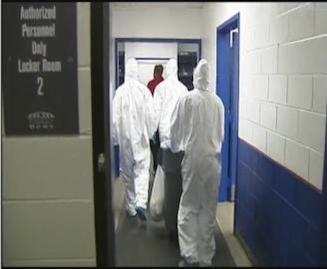 Crews In Hazmat Suits Cleaned The Locker Room After The Bucs Left
