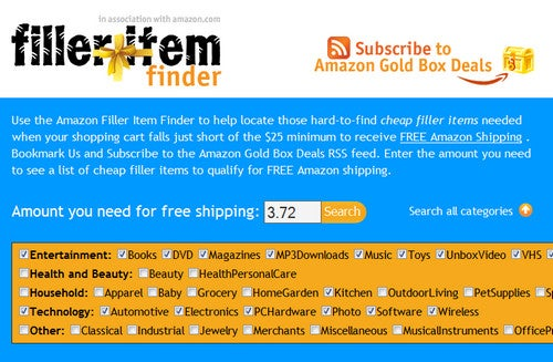 FillerItemFinder Helps You Secure Free Amazon Shipping