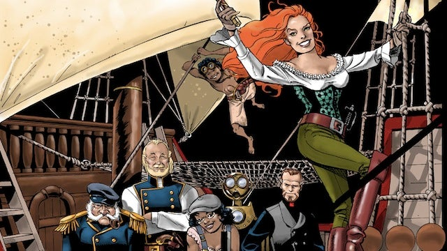 A swashbuckling noblewoman sails the Wild Space West in Greg Rucka's webcomic Lady Sabre & the Pirates of the Ineffable Aether