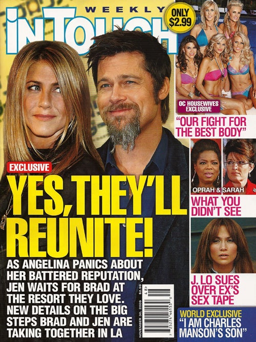 This Week In Tabloids: Jen Waits For Brad To Text; Tom's Secret Scientology Van