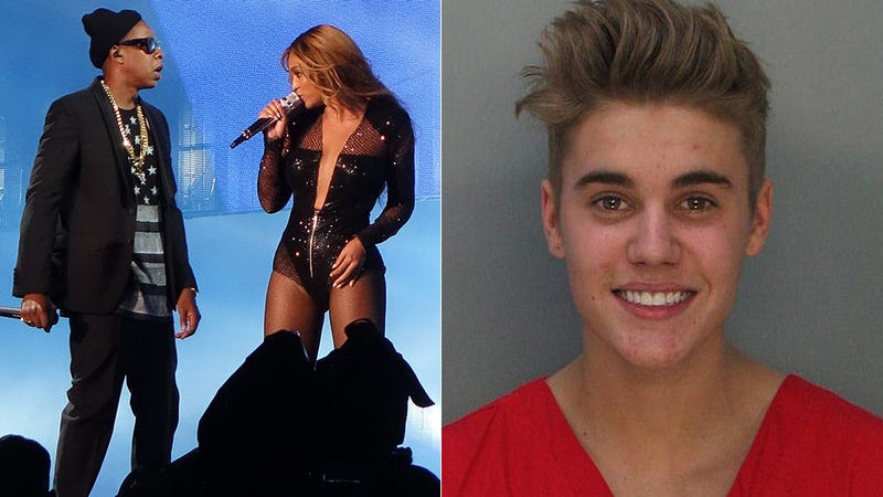 Beyoncé and Jay Z Display Justin Bieber's Mug Shot During Concert