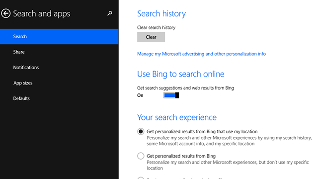 How to Configure or Disable Bing Web Search in Windows 8.1
