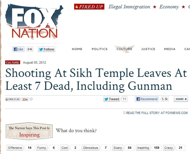 Fox News Viewers Think Sikh Temple Shooting Story is 'Inspiring'