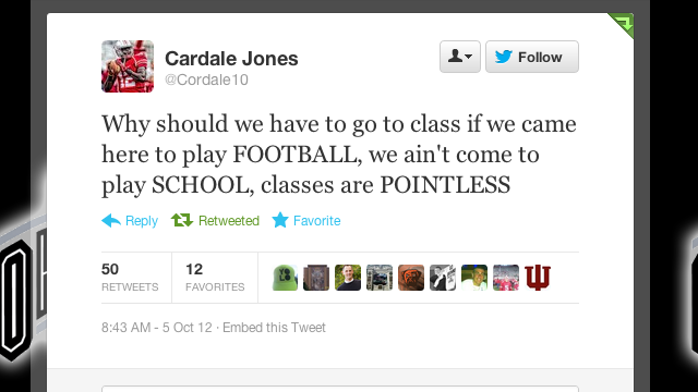 "It Looks Like Cardale ""Ain't Come To Play SCHOOL!"" Jones Has Changed His Ways"