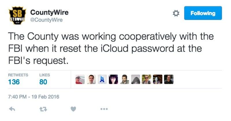 San Bernardino County Calls the FBI Liars Over Terrorist's iCloud Account