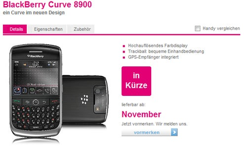 BlackBerry Curve 8900 Out Next Month on T-Mobile Germany (Everywhere Else Shortly?)