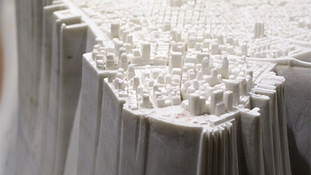 Manhattan In White Marble