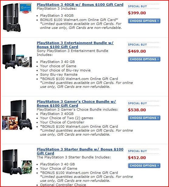 Dealzmodo: $100 Wal-Mart Gift Card With Purchase of PS3
