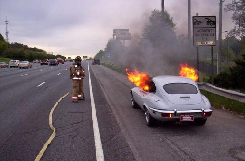 The Saddest Thing You'll See All Day: Jaguar E-Type Fire