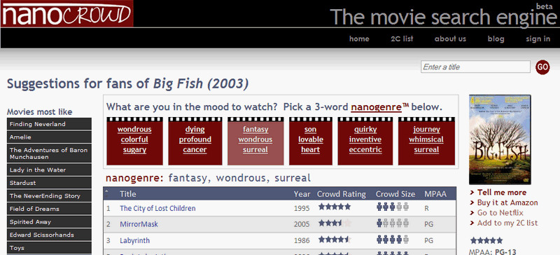 NanoCrowd Suggests Your Next Movie Based on Keyword Groups