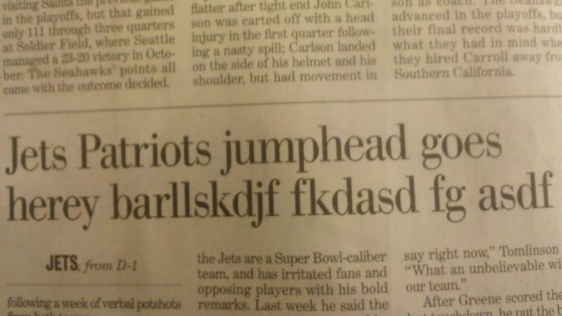 Jets-Patriots Game Was 'barllskdjkf,' According to Paper