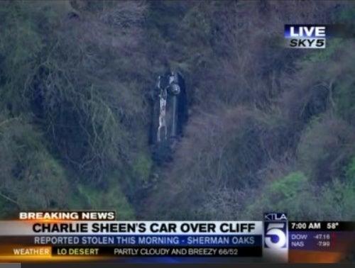 Charlie Sheen's Mercedes Stolen, Flung Off Cliff