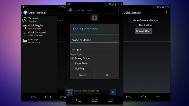 QuickTerminal Creates Command Line Shortcuts on Android