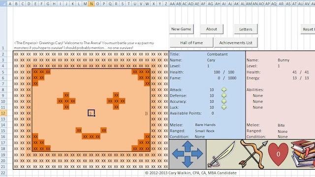 Un contable crea un fantástico juego RPG en Microsoft Excel