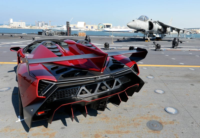 Lamborghini World Premiere Of Veneno Roadster - €3.3 Million Super Sports Car Makes Public Debut On Italian Aircraft Carrier In Abu Dhabi