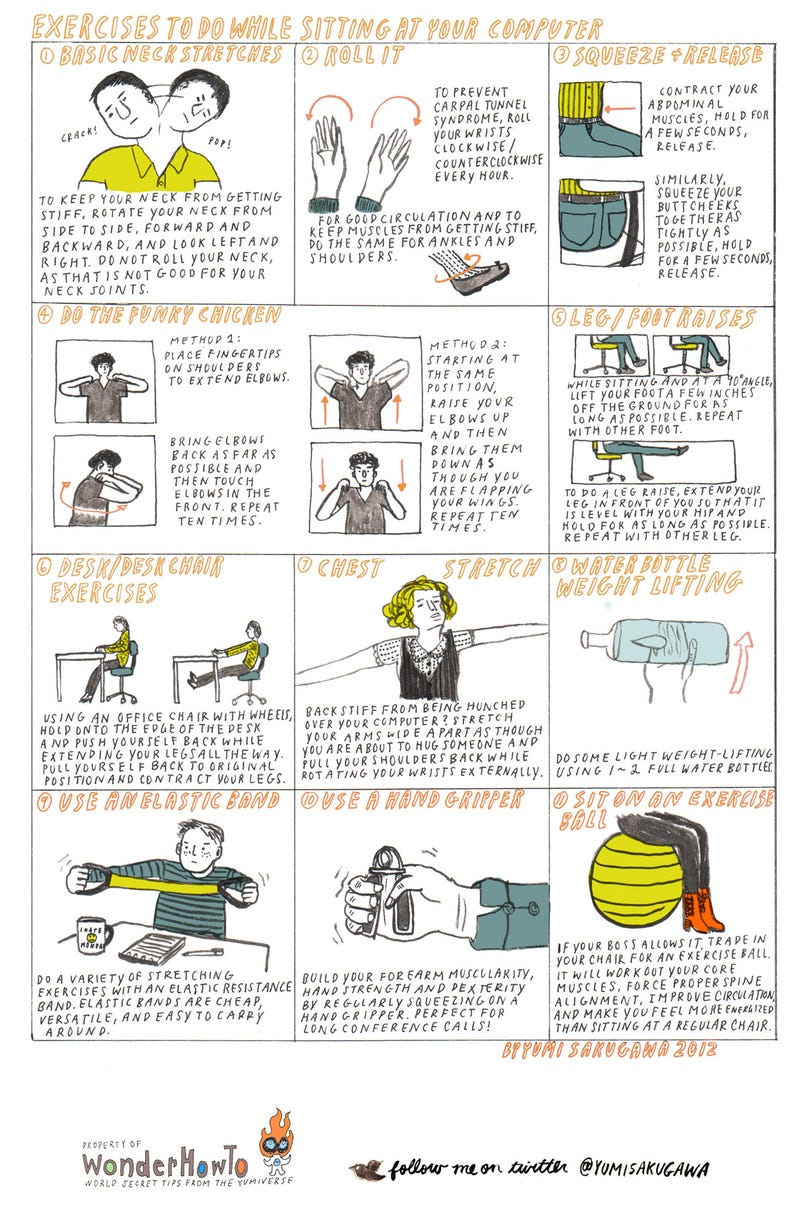 Get a Little Exercise in at Your Desk to Burn Extra Calories and Help Avoid Repetitive Stress Injuries