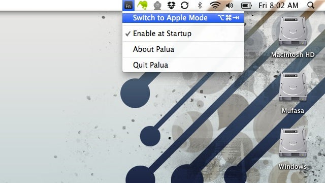 Palua Quickly Switches Between Standard and Apple-Specific Function Keys
