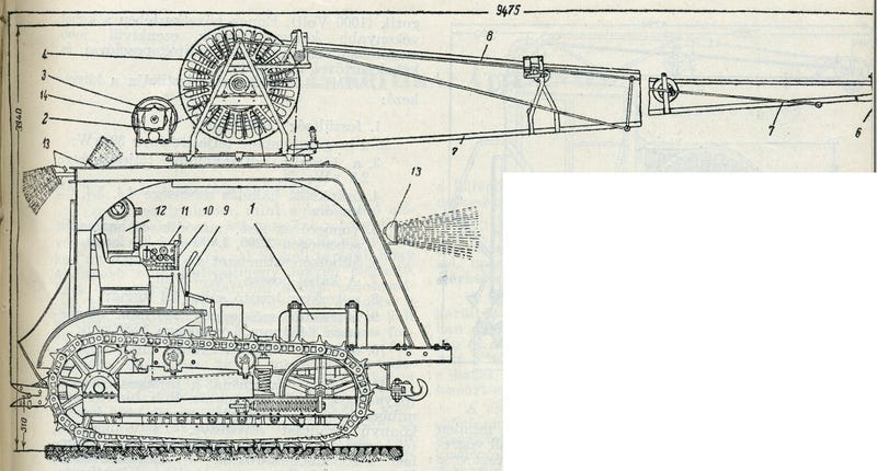 Technical drawings of Soviet electric tractors