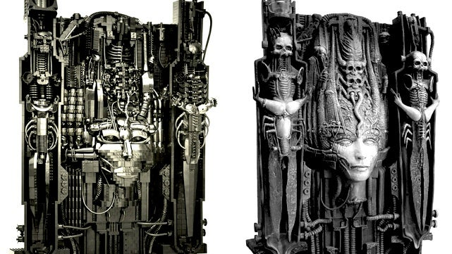 The artwork of H.R. Giger, recreated in LEGO bricks
