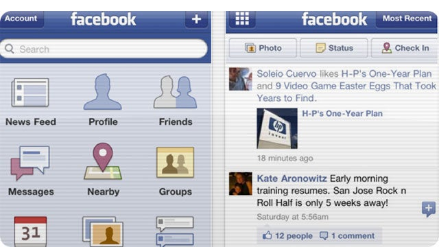 Facebook Improves Its iPhone App, iPad App Still MIA