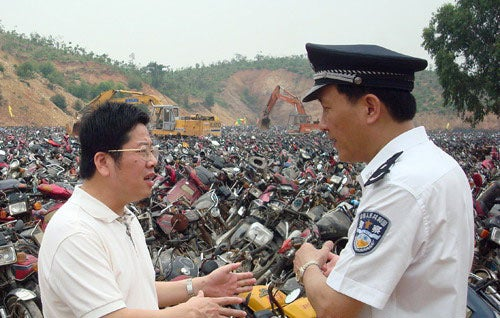 Chinese Police Destroy More Than 14,000 Illegal Motorcycles In Orgy Of Destruction