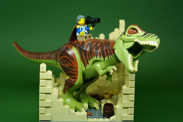 What you won't see in the Lincoln biopic: Lego Honest Abe riding a velociraptor