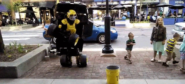 This guy's Transformers costume actually transforms into a mini car