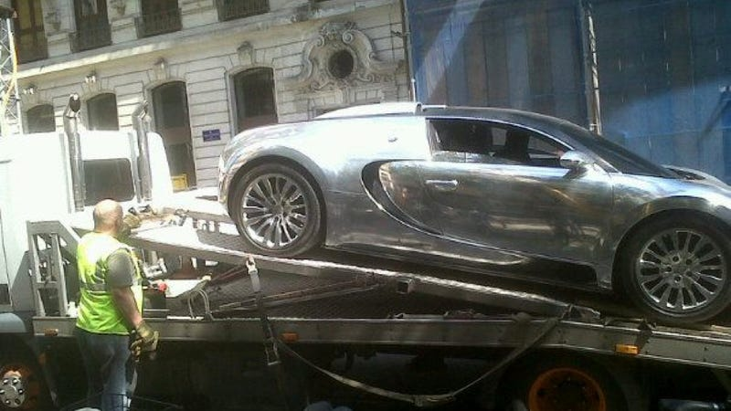 This $2.5 Million Chrome Bugatti Veyron Just Got Towed