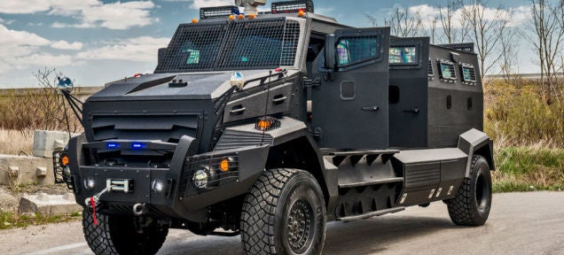 This armored truck is the perfect schoolbus for the zombie apocalypse