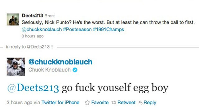 "Chuck Knoblauch's Official Twitter Account Gets Angry, Profane And Calls His Wife A ""Fucking Dirty Whore"""