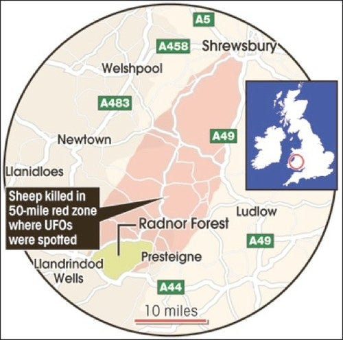 "UFO Hunters Identify 50-Mile ""Sheep Mutilation Corridor"" In The UK"