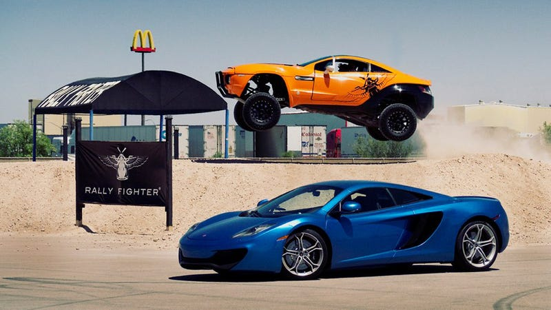 Awesome Is A McLaren Posing In Front Of A Flying Rally Fighter
