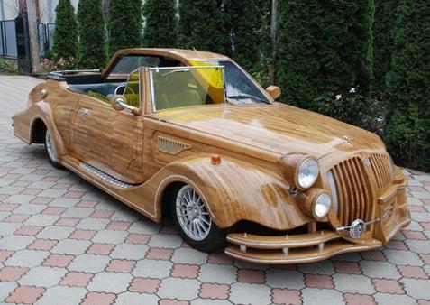 Ukrainian Creates Modern-Retro Hybrid Woodmobile